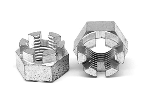 1/4-28 Fine Thread Hex Castle Nut Low Carbon Steel Zinc Plated Pk 2000 by ASMC Industrial