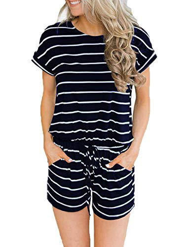 (ANRABESS Women's Summer Short Sleeve Striped Jumpsuit Rompers with Pockets Short Pant Rompers Playsuit Navy+White-M BYF-33)