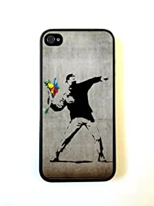 iPhone 5 Case ThinShell Case Protective iPhone 5 Case Banksy Flowers On Wall
