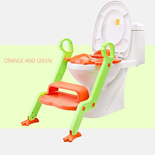 Potty Training Seat For Boys / Girls |,Potty Seat With Sturdy Non-Slip Ladder, Toilet Seat Reducer & Portable Potty,Two layers of pedal,orange and green