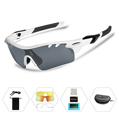 Wongkuo Polarized Sports Sunglasses 3 Interchangeable Lenses for Cycling Running Fishing - Polarized Fishing Readers