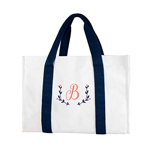 ElegantPark Women Monogram Initial B Canvas Tote Bag Embroidered Personalized Gifts Large Cotton Shoulder Bag with Interior Zip Pocket