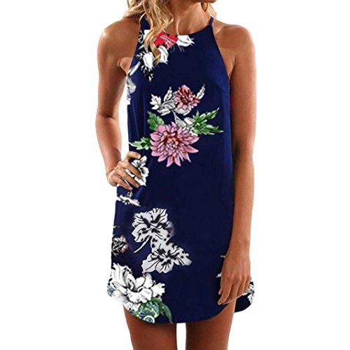 Syban Women Summer Sleeveless Floral Striaght Casual Strappy Print Mini Dress NY/L