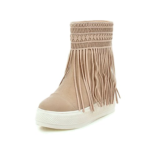 AllhqFashion Womens Pull-On Low-Heels Imitated Suede Solid Low-Top Boots Beige rWkv3T7
