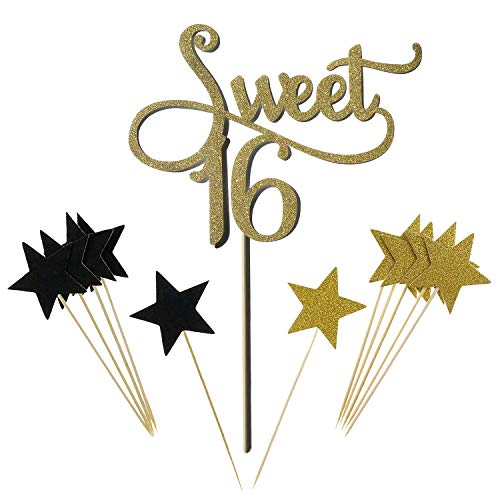 Gold Monogram Sweet 16 Cake Topper Glitter Star Cupcake Picks For 16th Birthday Anniversary Party Decoration Supplies by Shxstore -