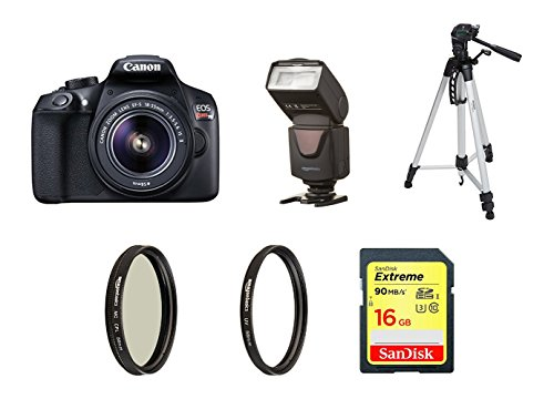 Canon EOS Rebel T6 Digital SLR Camera Kit with EF-S 18-55mm f/3.5-5.6 IS II Lens (Black) with 60 inch tripod, 16GB memory card, UV filter, Polarizer and (Flash Memory Kit)