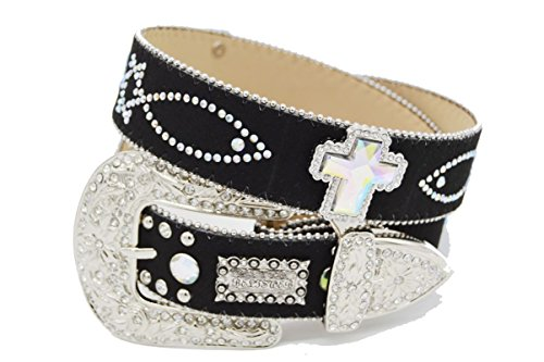 BELTSWEB 11001 Women's Double Fish and Cross Concho Cowgirl Bling Belt Size 36 Black