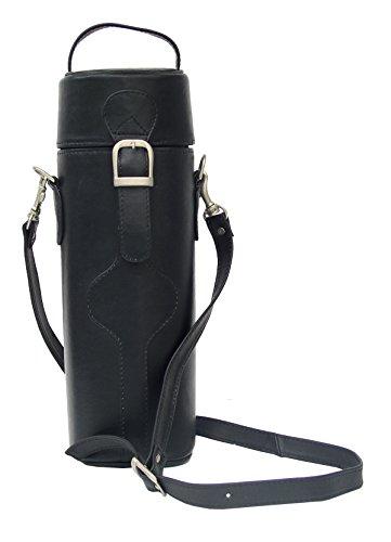 Single Deluxe Wine Tote - Piel Leather Adventurer Single Deluxe Wine Tote in Black
