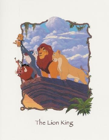 The Lion King Cast in 'Pride Rock' Fine Art Serigraph. Walt Disney Studios
