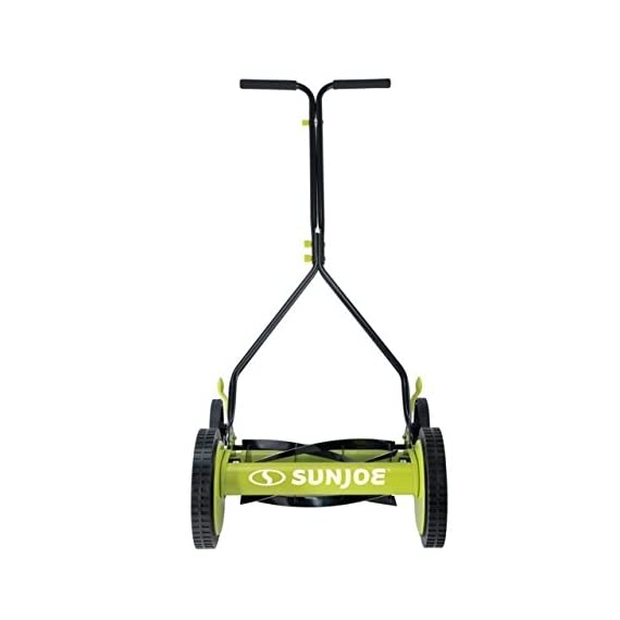 Sun Joe MJ503M 14-Inch Quad Wheel 9-Position Manual Reel Mower 2 ✅ REEL MOWER: Totally nature-friendly push reel mower - no electricity, no battery, no problem! ✅ ADJUSTABLE: 9-position height adjustment tailors grass cutting height from 1.1 to 2.9 inches ✅ RAZOREEL: 5 durable steel blades swiftly slice through grass for precise cutting