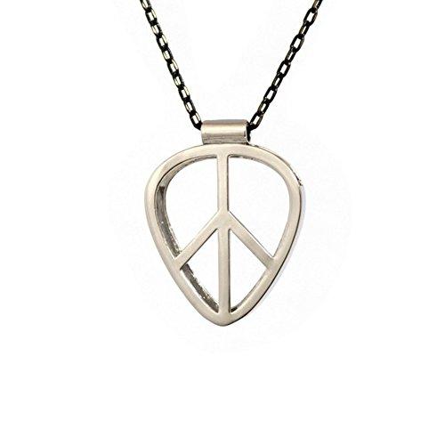 [PICKRING] Guitar Pick Holder Pendant Necklace Jazz Size (Peace/Silver) (Guitar Pick Necklace Silver)