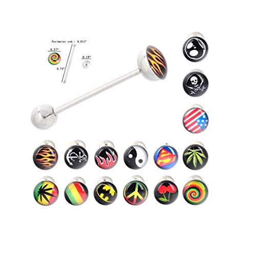 Pot Tongue Leaf Ring - Cherry's Stud 30Pcs Tongue Ring Tongue Bar Stainless Steel Body Piercing Punk Style Jewelry 20mm