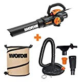 WORX WG512 Trivac 2.0 Electric 12-amp 3-in-1 Vacuum Blower/Mulcher/Vac with LeafPro Universal Leaf Collection System and Landscaping 26-Gallon Collapsible Yard Waste Bag/Leaf Bin