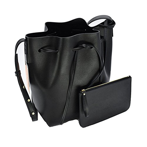 Satchel Large Cluthes Soft Lady Purse Free Bag body Shoulder Leather Tote Gift Girl Bucket L for Women Black Cross xH0wvx