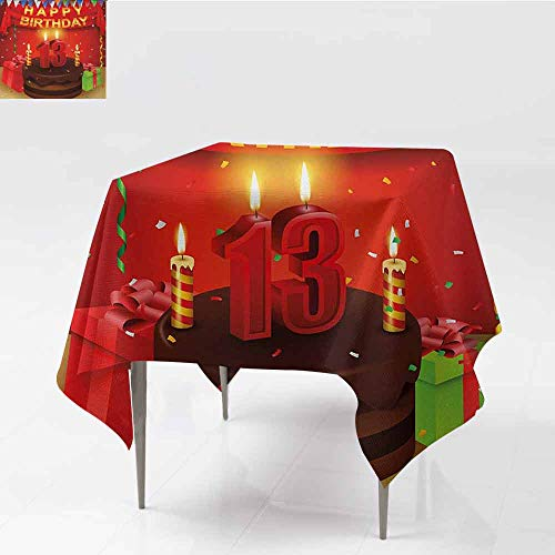 (DILITECK Flow Spillproof Fabric Tablecloth 13th Birthday Creamy Chocolate Cake with Candlesticks Presents and Ribbons Festive Theme Party W54 xL54 Multicolor)