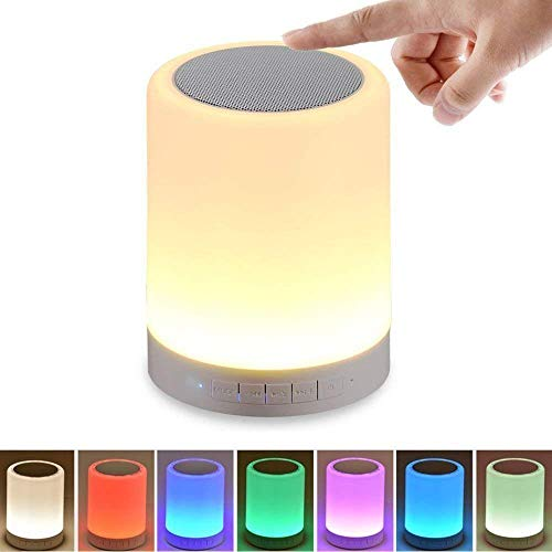 NISHICA LED Touch Lamp Portable Bluetooth Speaker, Wireless HiFi Speaker Light, USB Rechargeable Portable with TWS