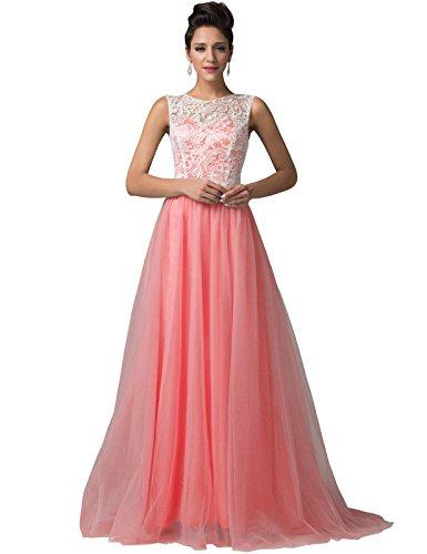 Grace Karin® Elegant Long Tulle Prom Dresses Lace Bodice CL6108-4 (12)