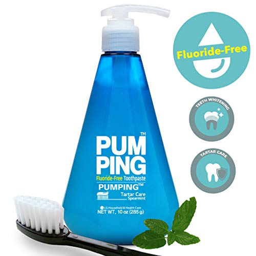 PERIOE Fluoride-Free Gel Type Toothpaste - Single-Pump Design for Smart Brushing and Improved Tartar Care, Spearmint (285 g / 10 oz)