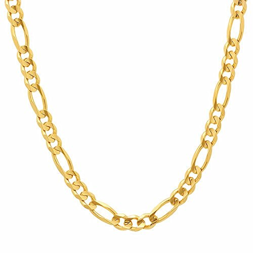 - 10K Gold 5.5mm Figaro 3+1 Link Chain Bracelet/Or Necklace - Made in Italy- (Yellow, 22)