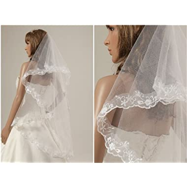 1t Ivory Beautiful Fingertip Length Wedding Veils with Lace Applique Edge -I04
