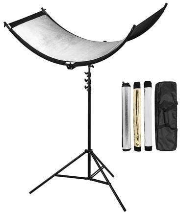 Glow ArcLight II Curved Reflector Kit with 7.2 Pro Air-Cushioned Heavy-Duty Light Stand