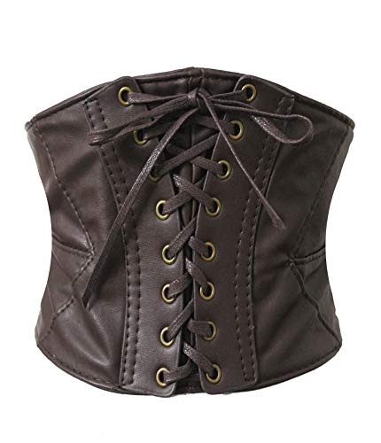 (Alivila.Y Fashion Womens Leather Steampunk Underbust Waist Belt Corset A14-Dark)