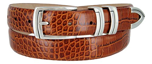 Harbor Men's Italian Genuine Calfskin Leather Designer Dress Belt In Alligator Tan, Size 36