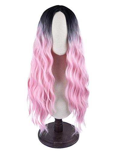 SEIKEA Women's Synthetic Long Wavy Hair Wig Dark Root Middle Part Cosplay Costume - Black Pink Ombre ()