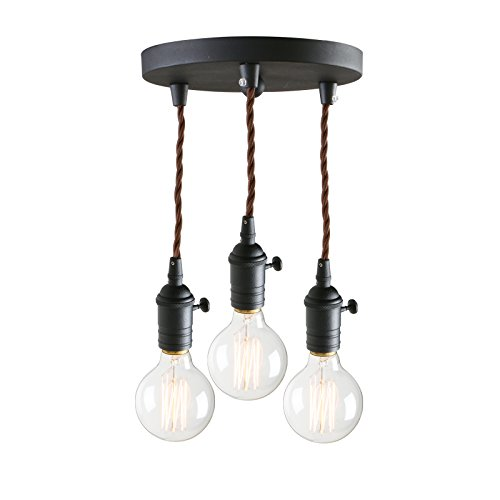 Pathson 3 Lights Pendant Light Fixtures with Vintage Style, Industrial Simple Home Ceiling Light Fixture Flush Mount with Adjustable Textile Cord Pendant Cluster Light (Bulbs Not Included) ()