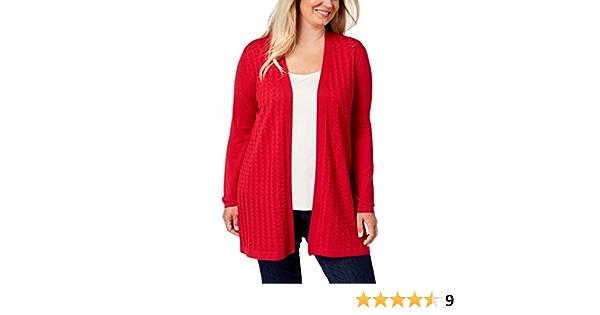 Karen Scott Womens Sweater Red US Size 1X Plus Cardigan Pointelle-Knit $54 396