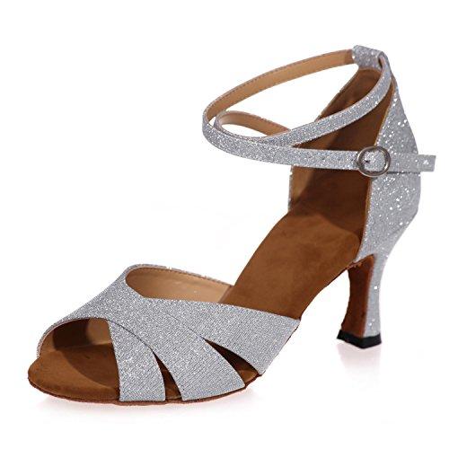 En Espumosos yc Mujer Cuero Baile Zapatos L De Profesionales Hechos Latino White Interiores wBxv0I