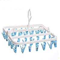 AIWANTO Clip and Drip Hanger, Hanging Drying Rack with 32 Clips, Folding Plastic Laundry Drying Rack Hanger for Drying Underwear Socks
