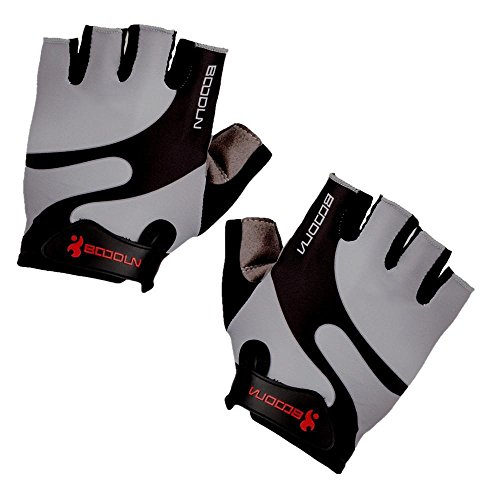 BOODUN B-001 Cycling Half Finger Gloves with Shock-Absorbing Foam Pad, Grey, Large