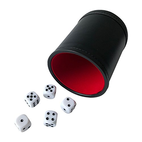 - YH Poker Felt Lined Professional Dice Cup with 5 Dice (Red)