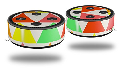 Skin Wrap Decal Set 2 Pack for Amazon Echo Dot 2 - Triangles Citrus (2nd Generation ONLY - Echo NOT INCLUDED)