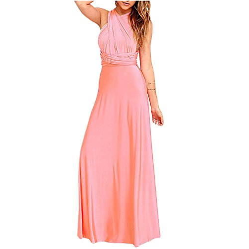 JET-BOND Infinity Night Dress Multi-Way Wrap Camisoles Halter Floor Long Dress High Elasticity FS41 (S, Pink)