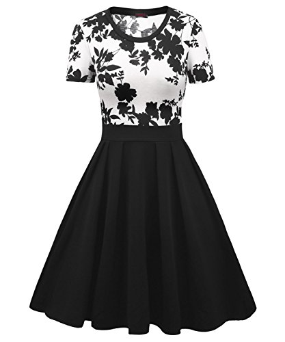 Vessos Women's Casual Flare Floral Contrast Short Sleeve Cocktail Party Dress (XX-Large, Black Flroal)