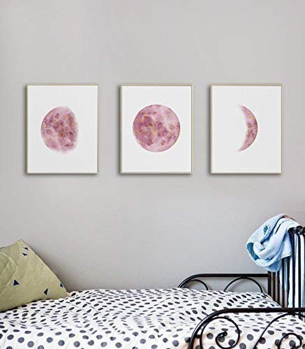 Bedroom Wall Art For Teen Girls, Moon Phases Wall Art Print, Girl Room Wall  Art, Bedroom Wall Art Red, Moon Phases Print Set, 3 Piece Wall Art Set