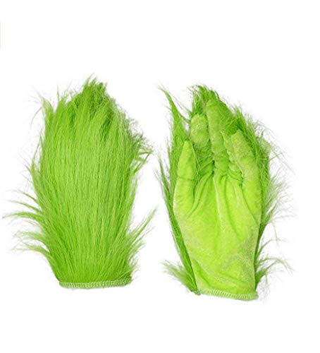 MOONLI Green Gloves with Furry Halloween Cosplay Costume Accessory Xmas Gifts
