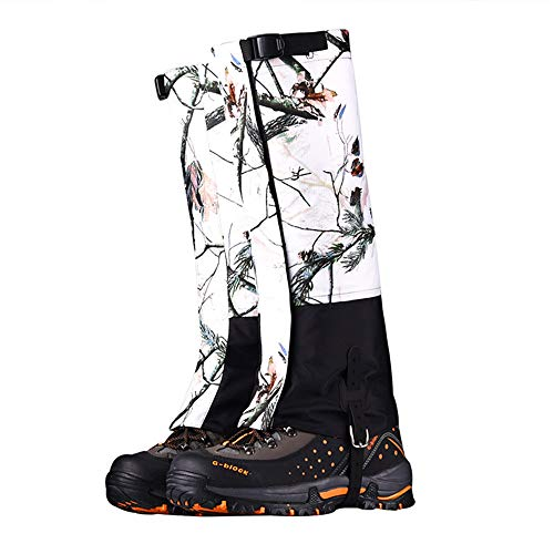 UNISTRENGH High Leg Gaiters Waterproof Snow Boot Gaiters 420D Anti-Tear Oxford Fabric for Outdoor Hiking Walking Hunting Climbing Mountain (Snow-Area Camouflage, Medium)