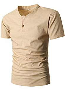 MIEDEON Men Linen and Cotton V neck Short Sleeve Casual Henley T-Shirt