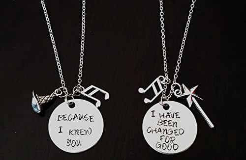 Set of Wicked Musical Inspired Necklaces Elphaba and Galinda Handstamped Necklaces