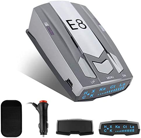 Radar Detector, E8 Laser Radar Detectors for Cars Voice Prompt Speed and Vehicle Speed Alarm System City/Highway Mode Car 360 Degree Safety Automatic Detection with LED Display