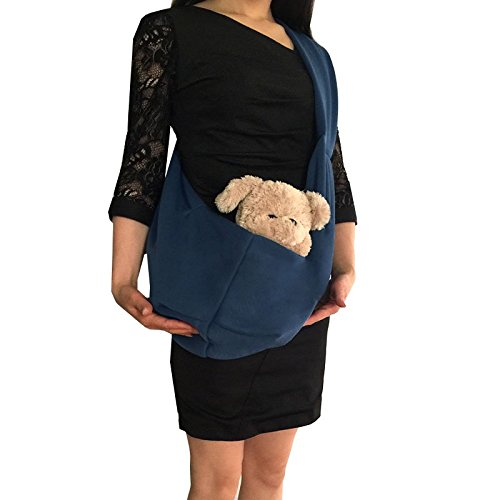 Pineocus Cotton Pet Dogs Sling Carrier Bag Peacock Blue Review