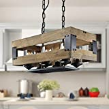 LALUZ 6 Lights Farmhouse Vintage Chandelier in Rustic Wood and Painted Black Metal Finish with Clear Glass Cylindrical Shades, 22.4