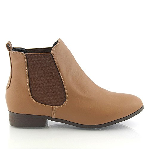 NEW WOMENS LOW HEEL FLAT CHELSEA VINTAGE PIXIE ELASTIC GUSSET PULL ON BOOTIES LADIES ANKLE BOOTS SIZE 3 4 5 6 7 8 TAN SYNTHETIC LEATHER PU 8RDvi