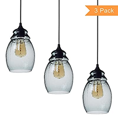"Casamotion Pendant Light Handblown Glass Drop Hanging Light, Glass Bell Pendant, Light Grey Blue Glass Shade, Matte Black Finish, 12'', 3-Pack - One Pendant Dimensions: 6.5""*6.5""*11.8""glass shade, 70.8"" adjustable hard wire cord/chain. Bulb NOT included. Easy-to-install. MOULD&SEAMS: Multi-piece MOULD creates the hammered glass light pattern but also the SEAMS. Hand Blown Glass Light: Each Pendant Lamp is individually mouthblown and handcrafted by skilled craftsmen. Slight variations may occur. - kitchen-dining-room-decor, kitchen-dining-room, chandeliers-lighting - 41F250R7TjL. SS400  -"