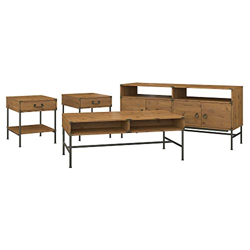 kathy ireland Home by Bush Furniture Ironworks TV Stand with Coffee Table and 2 End Tables in Vintage Golden - Set Bush Coffee Table