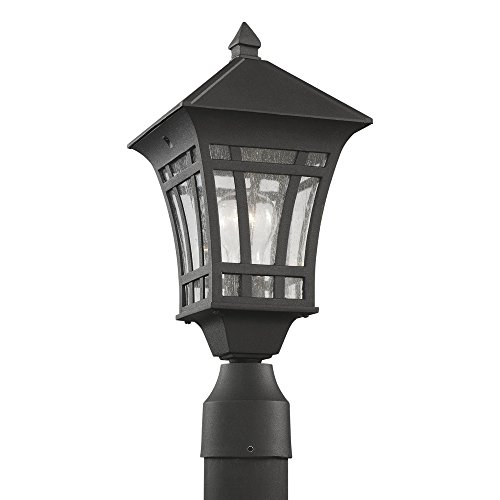 Sea Gull Lighting 82131-12 Herrington One-Light Outdoor Post Lantern with Clear Seeded Glass Panels, Black Finish