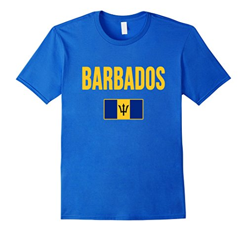 Mens Barbados Flag T-shirt XL Royal Blue